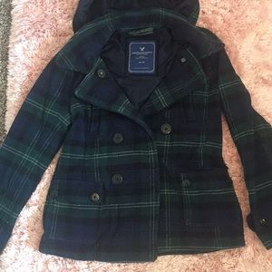 Navy and Forest Green Plaid Winter Coat